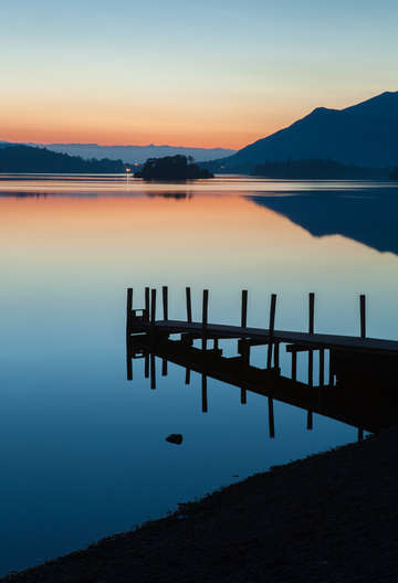 Lake district jetty at sunset england
