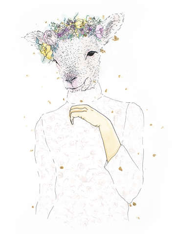 Evangeline lamb sheep portrait with flower crown