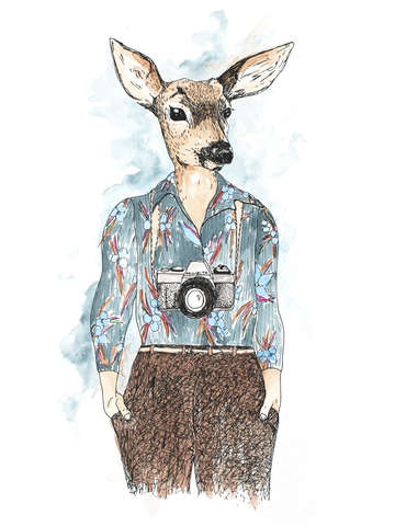 Eloise anthropomorphic deer portrait with camera
