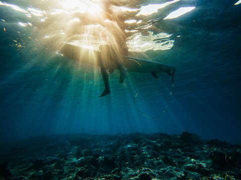 Underwater view of surfer at sunset