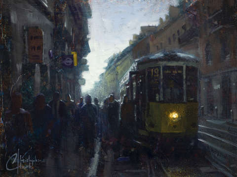 Milan italy early morning trolley