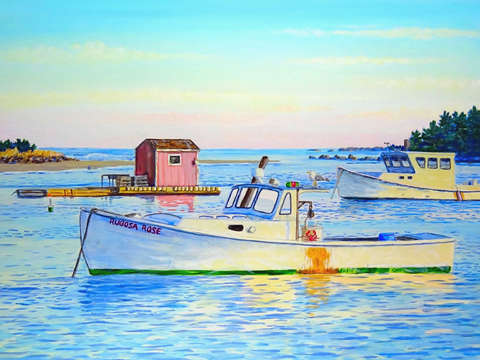 Sunset lobster boats