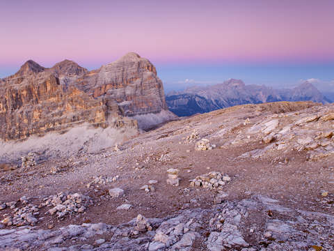 Dolomites italy afterglow