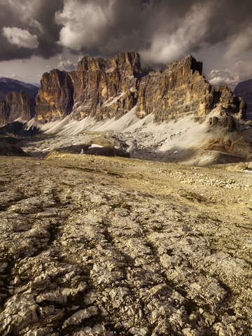 Dolomites italy fanes with clouds