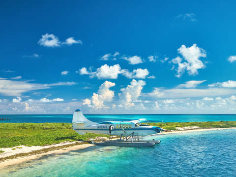 Beached seaplane in the dry tortugas