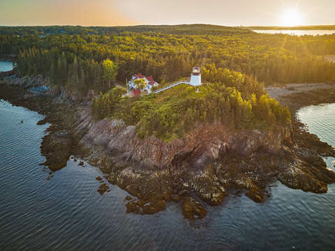 Maines owl head lighthouse at sunset
