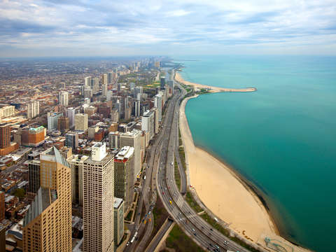 Elevated cityscape of chicago