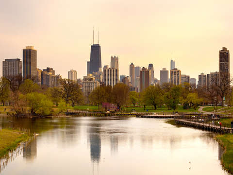 Chicago skyline from lincoln park 2
