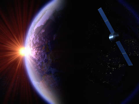 Satellite orbiting the earth 3