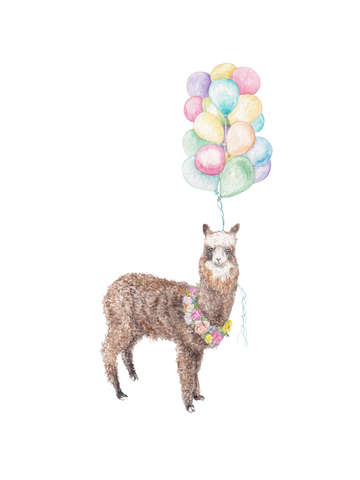 Fancy llama alpaca with balloons