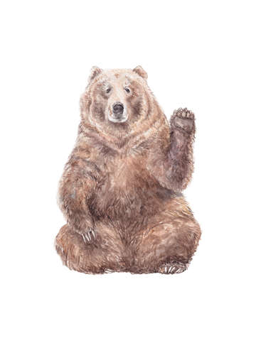 Watercolor brown bear waving