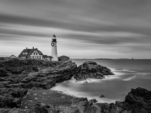 Black and white of the portland head lighthouse