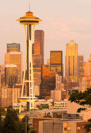 Space needle and skyline of seattle