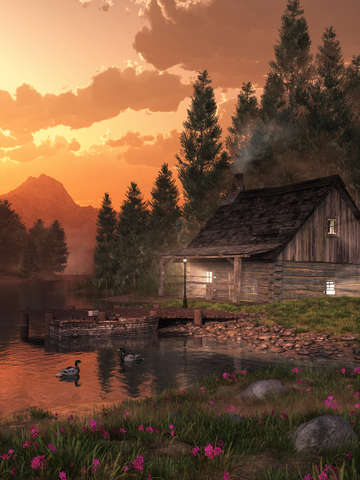 Fishing cabin on the lake