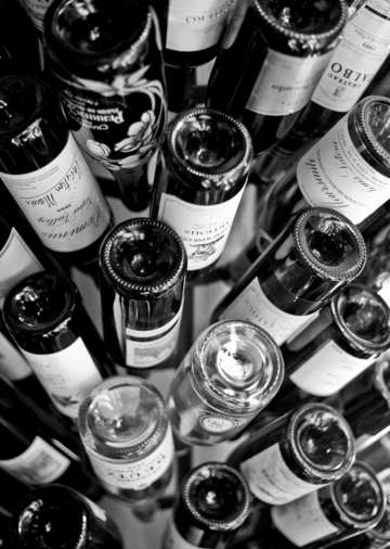 Wine bottle tree in black and white