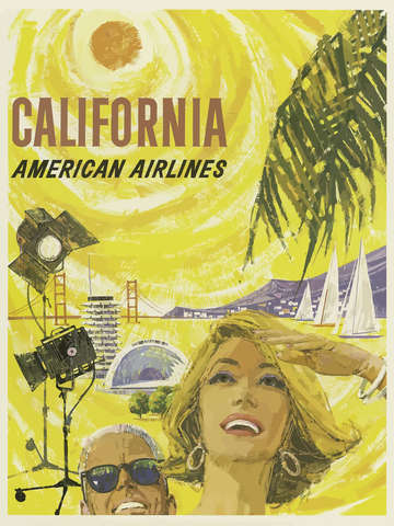 Vintage california american airlines poster