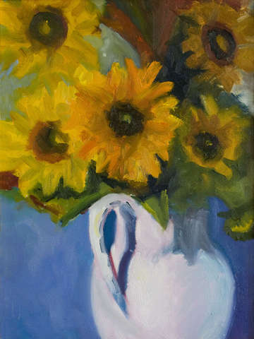 Sunflowers in a White Jug