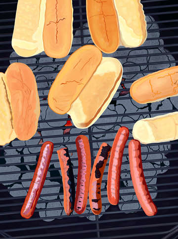 Six hot dogs on the grill