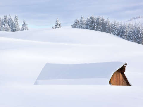 Barn in Snow Abstract