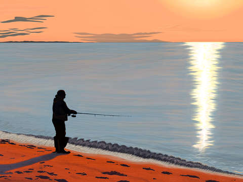 Man Fishing, McCabe's Beach