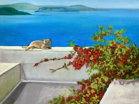Cat on the wall by the aegean sea