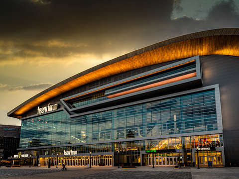 Sunset at fiserv forum