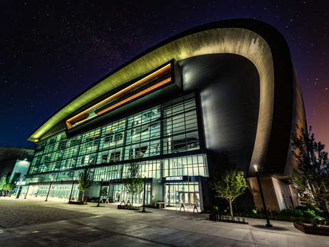 Fiserv forum at night