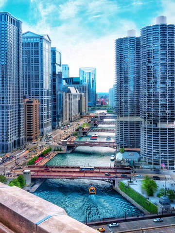 Chicago river from abovce