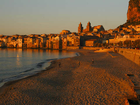 Sunset in cefalu italy