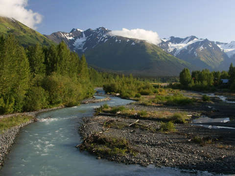 Alaskan river and mountains