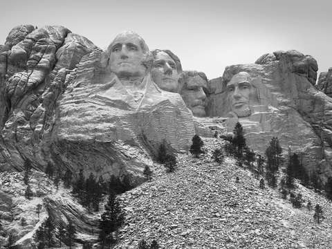Mount rushmore in a light snow