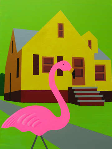 Yellow bungalow with flamingo 2