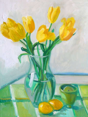 Yellow Tulips, Green Plaid