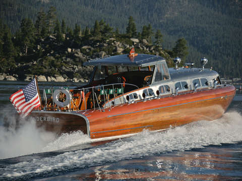 Iconic thunderbird on lake tahoe