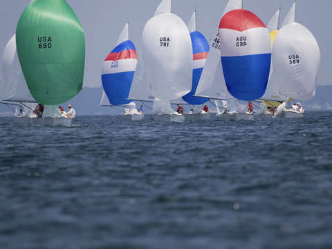 Sonar spinnakers off of marblehead
