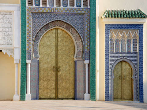 Decorative doors and tile wall 1