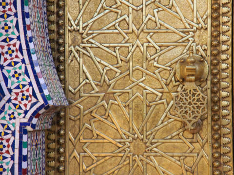 Decorative doors and tile wall 2